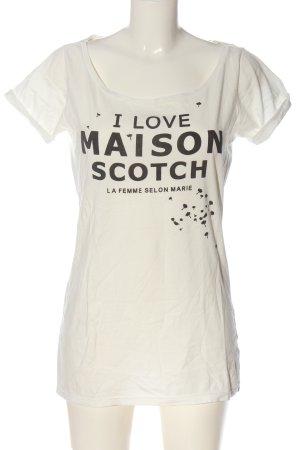 Maison Scotch T-shirt blanc cassé-noir imprimé avec thème style décontracté