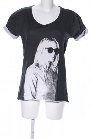 Maison Scotch T-Shirt schwarz-weiß Motivdruck Casual-Look