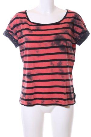 Maison Scotch T-Shirt rot-schwarz Streifenmuster Casual-Look
