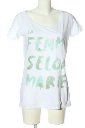 Maison Scotch T-Shirt weiß-türkis Schriftzug gedruckt Casual-Look