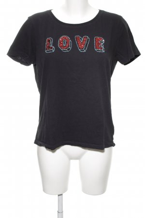 Maison Scotch T-Shirt schwarz-rot Schriftzug gestickt Casual-Look