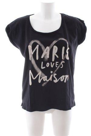 Maison Scotch T-Shirt schwarz Motivdruck Casual-Look