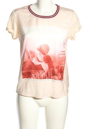 Maison Scotch T-Shirt creme-rot Motivdruck Casual-Look