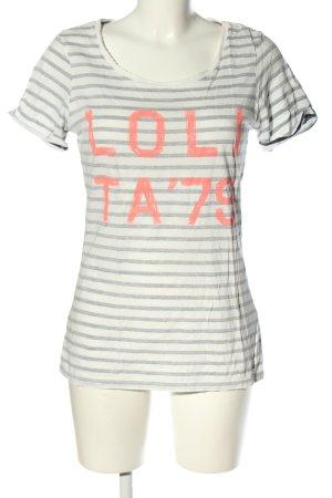 Maison Scotch T-Shirt hellgrau-wollweiß Schriftzug gedruckt Casual-Look