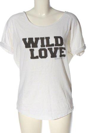 Maison Scotch T-shirt blanc-noir imprimé avec thème style décontracté