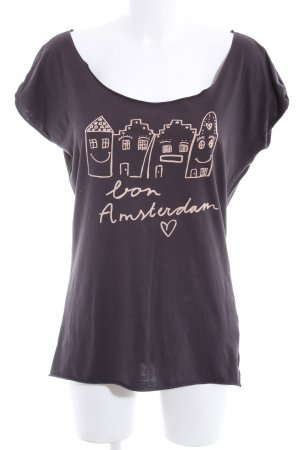 Maison Scotch T-Shirt braun-wollweiß Motivdruck Casual-Look