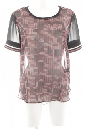 Maison Scotch T-Shirt schwarz-pink grafisches Muster Casual-Look