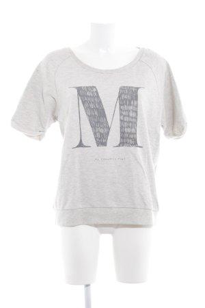 Maison Scotch T-Shirt hellgrau-creme Schriftzug gedruckt Casual-Look