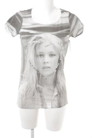 Maison Scotch T-Shirt hellgrau-grau Motivdruck Casual-Look