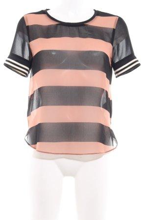 Maison Scotch T-Shirt schwarz-nude Streifenmuster Transparenz-Optik