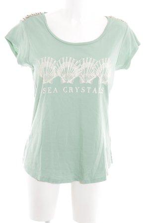 Maison Scotch T-Shirt türkis-weiß Motivdruck Casual-Look