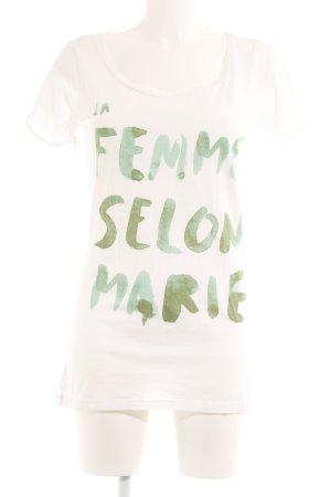 Maison Scotch T-Shirt wollweiß-grasgrün Schriftzug gedruckt Casual-Look