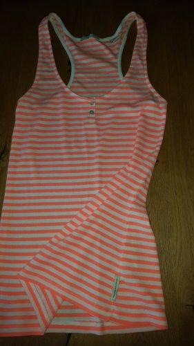 Maison Scotch Camisa de rayas blanco puro-naranja neón Algodón