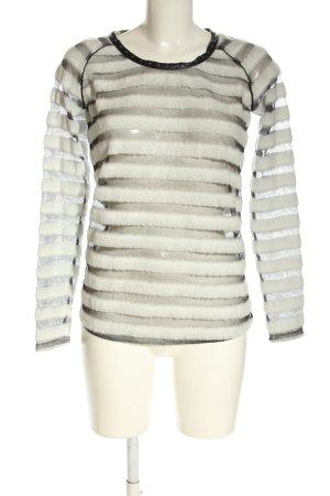 Maison Scotch Transparenz-Bluse wollweiß-schwarz Streifenmuster Elegant