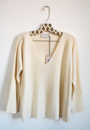 Maison Ullens Pullover V-Ausschnitt cream Neu 100% Cashmere Kaschmir S