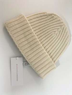 Knitted Hat natural white cashmere