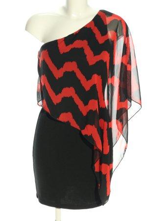 maitai Eénschouderjurk rood-zwart elegant