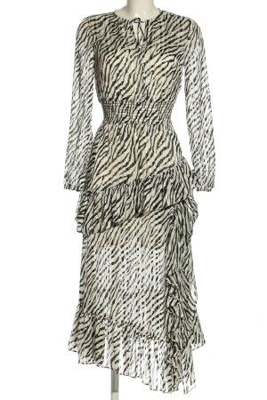 Maje Chiffon Dress cream-black allover print casual look