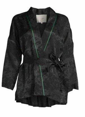 Maje Kimono czarny-zielony Wiskoza