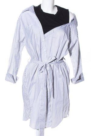 Maje Hemdblusenkleid hellgrau-weiß Streifenmuster Casual-Look