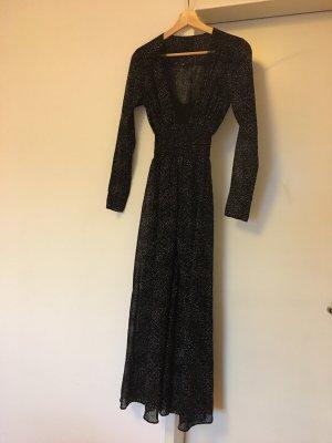 Maje Jacquard Kleid mit Samt und Punktmuster
