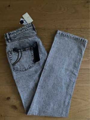 Maje Jeans hose grau acid washed straight cut high waist Etikett