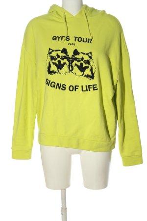 Maje Sweat à capuche jaune primevère-noir imprimé allover style décontracté