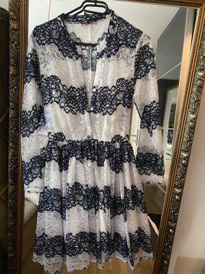 Maje Kleid S M spitze blau weiß