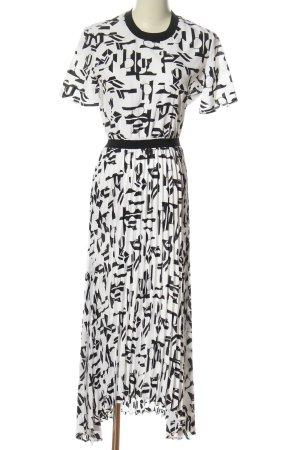 Maje Kurzarmkleid weiß-schwarz abstraktes Muster Elegant