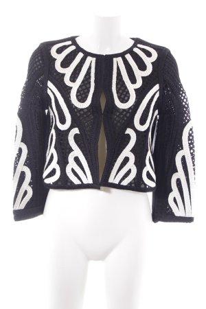 Maje Kurzjacke schwarz-weiß abstraktes Muster Elegant