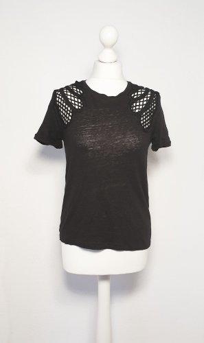 Maje Gehaakt shirt zwart Linnen