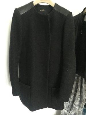 Maje Mantel mit Ledereinsätzen an der Schultern