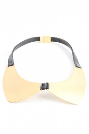Maje Collier incrusté de pierres noir-doré style extravagant