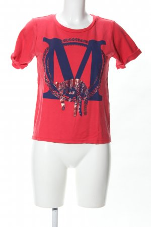 Maje T-Shirt rot-blau Motivdruck Casual-Look