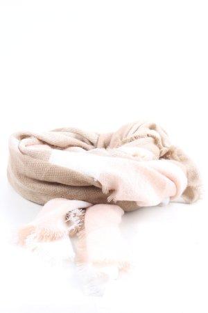 Majea Écharpe à franges brun-blanc cassé style décontracté
