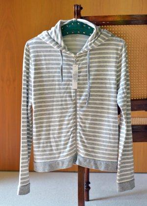 MAJESTIC FILATURES Sweatjacke Hoodie Kapuzenjacke Sweater Etikett Grau gestreift