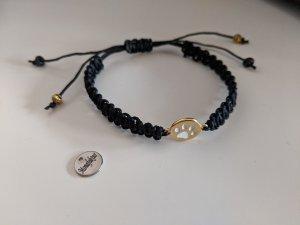 Makramee-Armband mit Pfote in gold/weiss NEU!