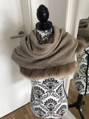 Mala Alisha Knitted Scarf light brown cashmere
