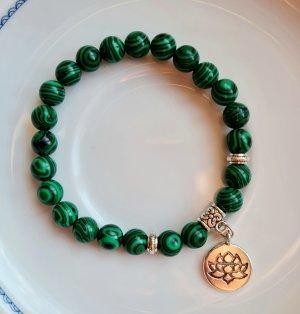 Malachit Armband mit Lotus Anhänger / Mala Heilarmband aus Halbedelsteinen