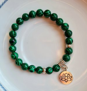 Mala Bransoletki z perłami srebrny-leśna zieleń