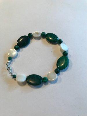 Handarbeit Brazalete de perlas crema-verde bosque