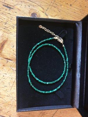 Srebrny łańcuch złoto-zielony