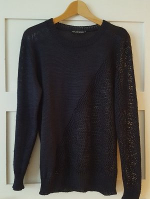 Malaika Raiss Crochet Sweater dark blue viscose