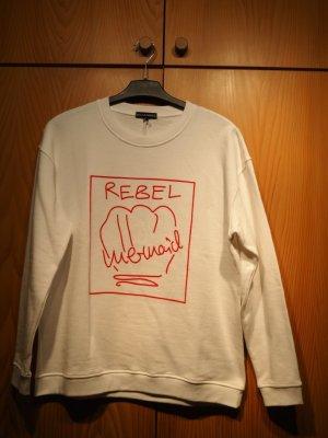 Malaika Raiss Sweatshirt, ungetragen, weiß mit rotem Druck