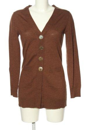 Maliparmi Giacca in maglia marrone puntinato stile casual