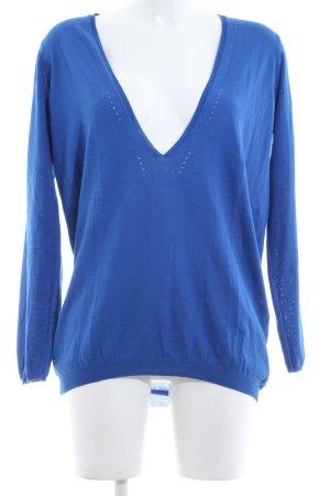 Maliparmi Maglione con scollo a V blu stile casual