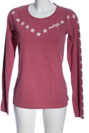 Maloja Longsleeve pink-weiß Motivdruck Casual-Look