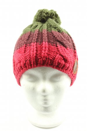 Maloja Pom-pom muts rood-khaki gestreept patroon casual uitstraling