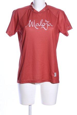 Maloja Sportshirt rot-weiß Schriftzug gedruckt Casual-Look