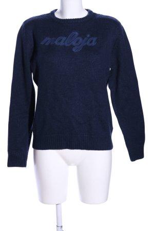 Maloja Maglione lavorato a maglia blu caratteri stampati stile casual